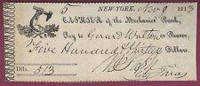 Very Early New York Check, Mechanics' Bank, 1813