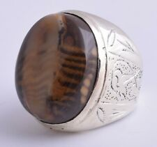 Silver-fossilised-agate-aqeeq-Men-Ring-Middle-Eastern