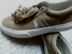 Polo RALPH LAUREN Tan-Mustard Men's Size 7 Lace Up Canvas Sneakers Walking Shoes