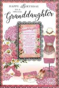 """For A Special Granddaughter On Your Birthday. Large Card 9"""" x 6""""."""