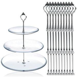 2/3 Tier Cake Cupcake Plate Stand Handle Gold Silver Hardware Fitting Holder