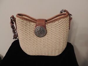 Brighton Natural Color Woven Straw Handbag Shoulder Bag with Leather Trim