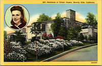Vtg 1940's Residence Ginger Rogers Actress Beverly Hills California CA Postcard