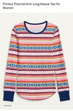 OldNavy Christmas-Graphic Thermal-Knit Long-Sleeve Tee Multicolor  WomenSz.M Tal