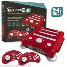 RetroN 3 3in1 Retro Console for Nintendo NES SNES Sega Genesis Games RED