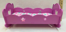 Doll Bed Cradle Rocking & Plays Musical Lullaby Pink Mattress Cushion Elephant