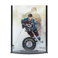 Joe Sakic Autographed 20th Anniversary Avalanche Puck Picture Curve #20/25 UDA