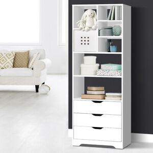 Bookcase Display Shelf 3 Drawers Storage Cabinet Stand Book CD Organiser White
