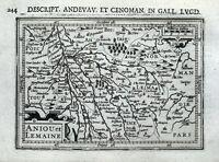 ANGERS, LE MANS, TOURS, CAEN, LAVAL, SAUMUR, FRANCE, BERTIUS antique map 1618