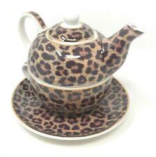 NEW Wildside Leopard Print Tea for One Teapot, Cup and Saucer Set Gift Boxed