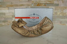 original Prada Gr 36 Ballerines Chaussures Basses Pantoufles Reptile doré neuf