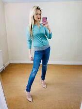 LK Bennett S 55% Silk short Cropped Mint cardigan button up Top Knit Betty