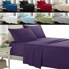 PLAIN SOFT MICROFIBER COMPLETE 3/4 PIECE SET FITTED SHEET 5SIZES KING QUEEN TWIN