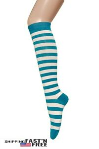 Women's Fashion  Multi-Striped Knee High Casual Tube Cotton Socks