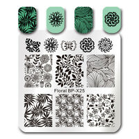 BORN PRETTY Square Nail Art Stamp Template Floral Flower Leaf Image Plate BP-X25