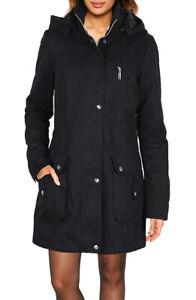 Damen Cotton Parka Mantel Jacke mit Kapuze Übergang Baumwolle robust