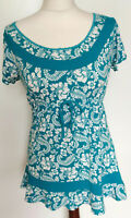 PER UNA Ladies White Teal Floral Short Sleeve Frill Tunic Top Size UK 14