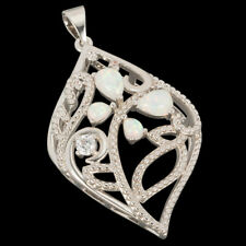Hollow Plant & Butterfly White Fire Opal CZ Silver Jewelry Necklace Pendant