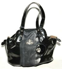 VIVIENNE WESTWOOD BLACK PATENT LEATHER HOBO BAG SOFT SHOULDER LARGE 5 DEGREE