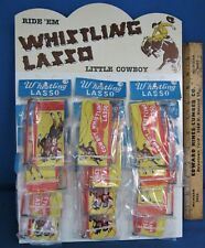 12 Whistling Lassos & Store Display ~ Counter Top ~ 1950's Western Easel Display