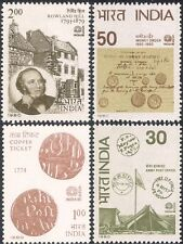 India 1980 SIR ROWLAND HILL/Tenda POST OFFICE/MONETE/SOLDI/stampex 4 V Set (n22906)
