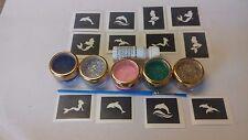 Dolphin & SIRENA a tema MINI PICCOLA GLITTER TATTOO Set Incl. Stencil + GLITTER