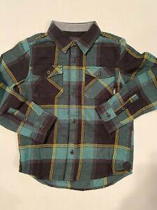 Vans New Buffalo Flannel Plaid Button Down Shirt Youth Boy's 5/M