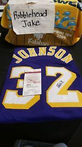 SIGNED AUTO NBA MAGIC JOHNSON LOS ANGELES LAKERS XL CUSTOM JERSEY COA