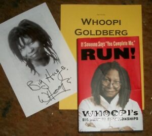 WHOOPI GOLDBERG Autographed book RP & Photos Real Collectible