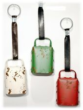 Rustic Metal Cowbell Set/3 Christmas Holiday Ornament Home Decor Red Green White