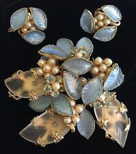 Vintage Schreiner N.Y Brooch & Earrings Set~Blue Glass/Pearls/RS/Goldtone~Signed