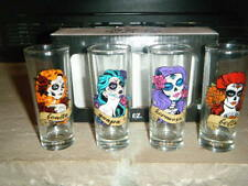 SUGAR SKULLS BONITA GUAPA HERMOSA BELLA 4 SEXY X TALL SHOT GLASSES GLASS SET HTF