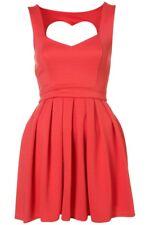 Topshop Rib Heart Back Flippy Skater Mini Prom Dress - Coral UK 16