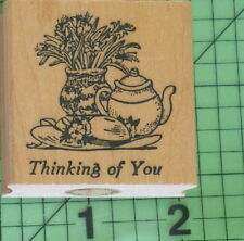 Thinking of You Teapot and Flowers rubber stamp by Embossing Arts Co.