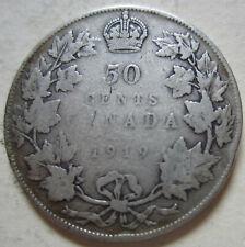 1919 Canada Silver Half Dollar Coin. BETTER GRADE (H208)