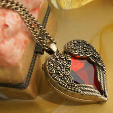 Red Angel Wing Gem Heart Stone Necklace