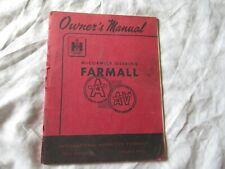 International McCormick farmall  tractor A AV operator's owner's manual