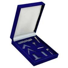 More details for masonic freemasons working tools desk gift set in silver tones + velvet box