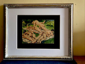 Antique  Watercolor And Ink  Erotic Painting, Circa 1900-10