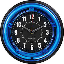 "Unique Wall Clocks decorative modern fun wall clocks 11"" Blue Light Neon Clock"