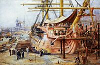 Restoring HMS Victory by W. Wyllie. Fine Art Repro Made in U.S.A Giclee Prints