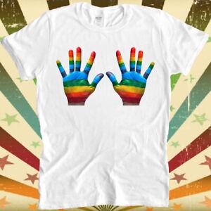 Rainbow Hands Gay Pride LGBT Soho London Retro Vintage Hipster Unisex Tshirt 541