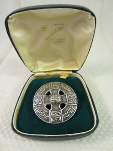 Vintage Scottish Silver Celtic Knot Shield Brooch Thomas Kerr Ebbutt 1962-3 Box
