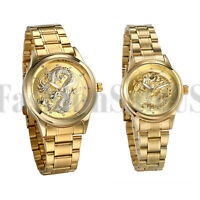 Men's Women Gold Tone Luminous Hands Stereo Dragon Stainless Steel Wrist Watch