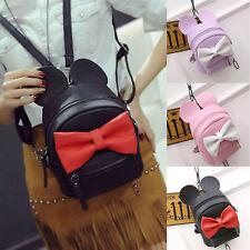 Womens PU Leather Mini Backpack Bowknot Minnie Shoulder Bag Satchel Rucksack