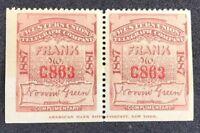 us telegraph stamps Scott 16T17 MNH OG Centered Perfect Gem Pair