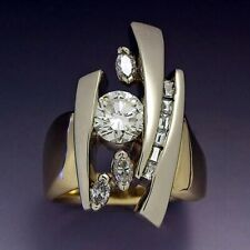 Fashion Women Wedding Ring 18k Yellow Gold Plated White Sapphire Size 6-10