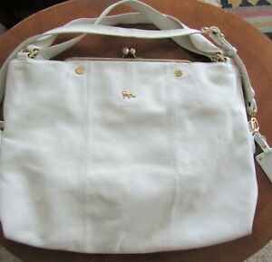 EMMA FOX tote satchel large HANDBAG White Leather Shoulder & Handles