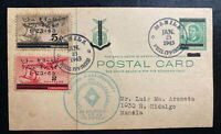 1943 Manila Philippines Japan Occupation Postcard Cover Executive Commission FDc