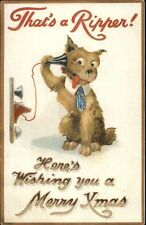 Christmas Fantasy - Dog on Telephone THAT'S A RIPPER! BB London Postcard